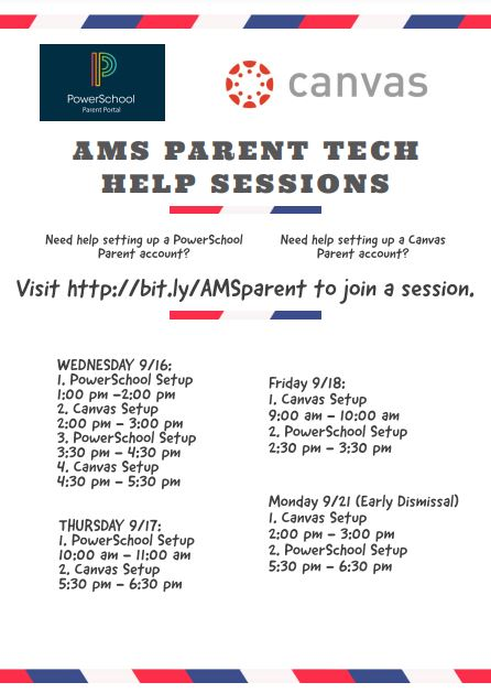 PowerSchool and Canvas Parent Help Sessions
