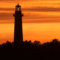 currituck lighthouse at sunset