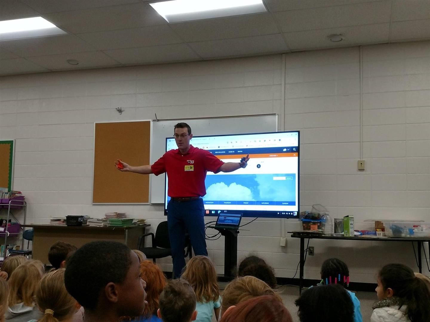 Hall Fletcher 2nd Graders Receive Weather Tips From WLOS Meteorologist