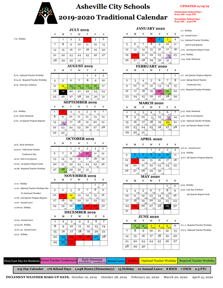 Updated 2019-2020 Calendar Due to Winter Weather